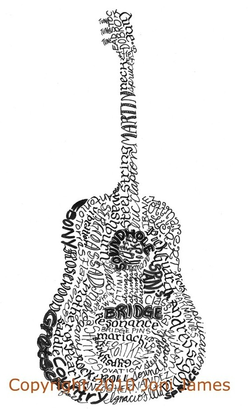 Acoustic Guitar Poster Calligram