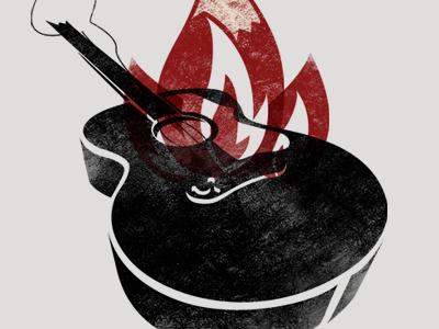 Guitar Designs Drawings Guitar on Fire Drawing