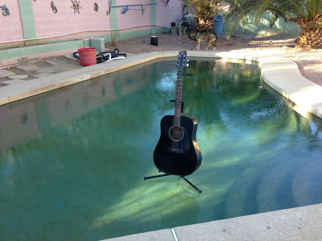 would you sit your guitar on a frozen pool