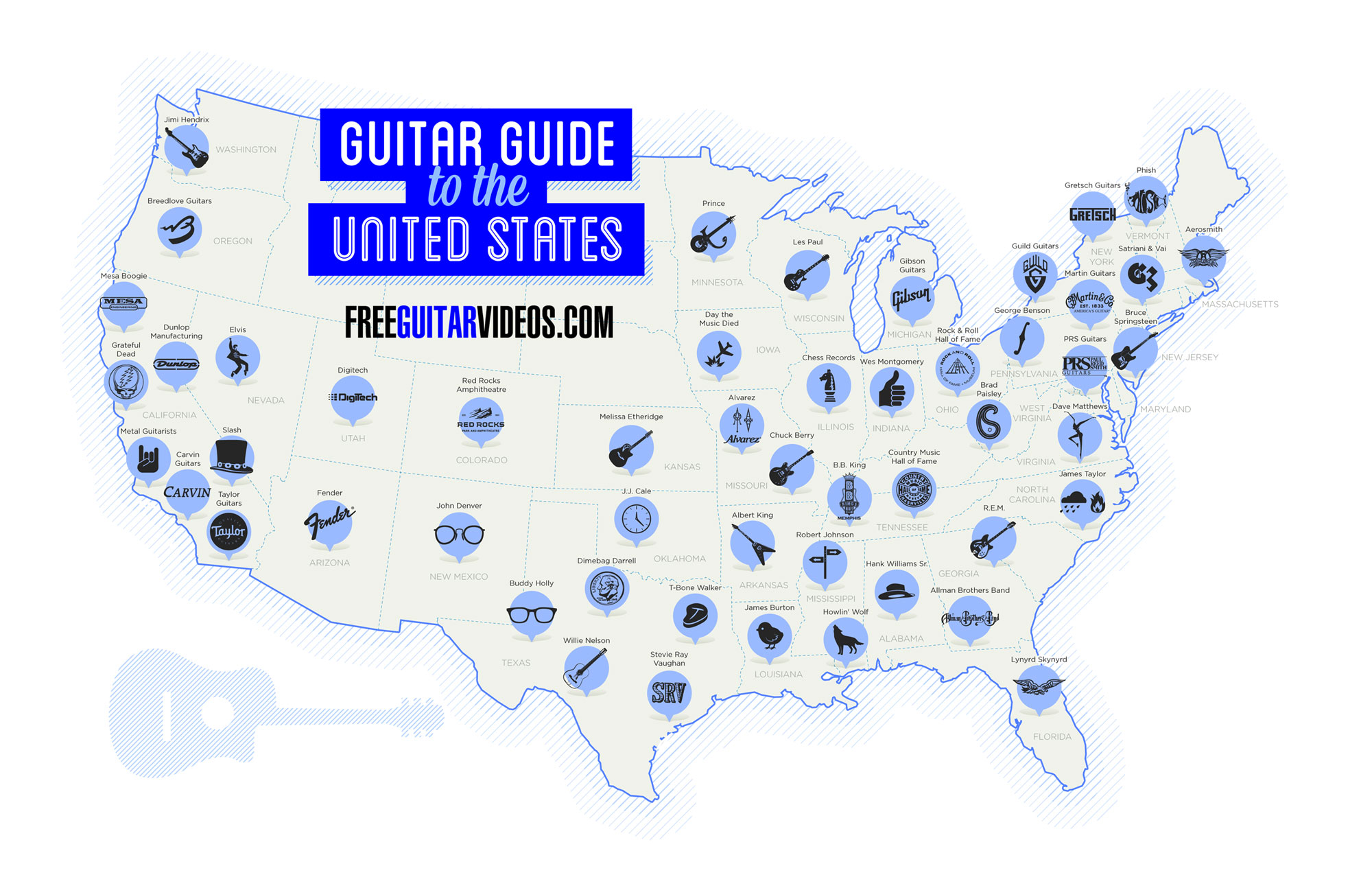 guitar map of united states